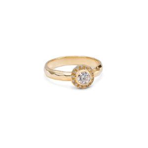 Geltono aukso žiedas su briliantais SUN