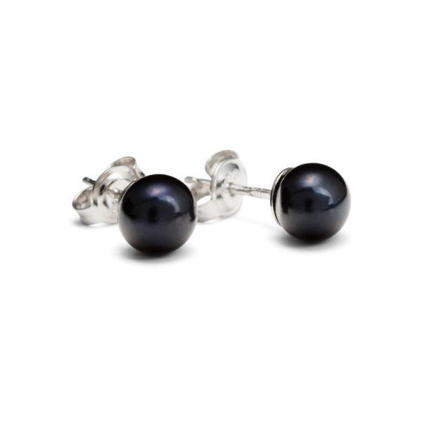 Juodų perlų auskarai