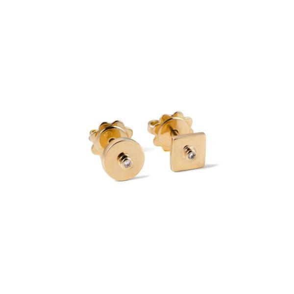 Asimetriški auksiniai auskarai Vinukai
