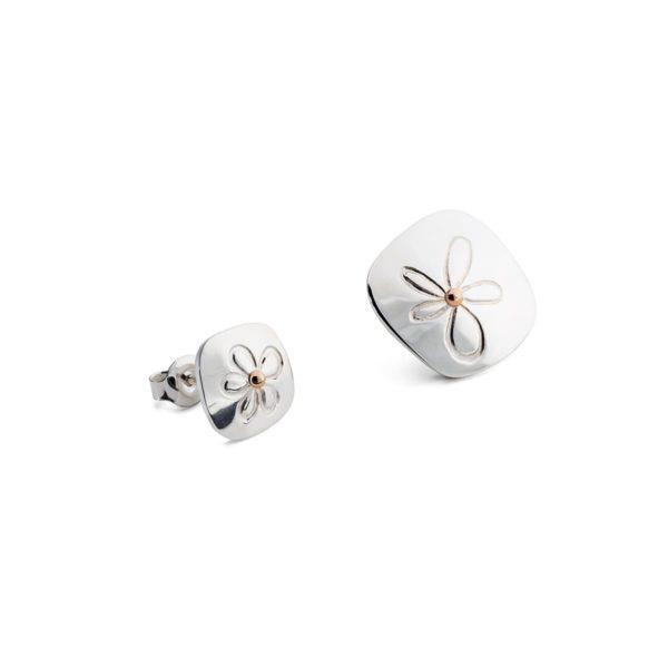 Asimetriški sidabriniai auskarai Ramunėlės