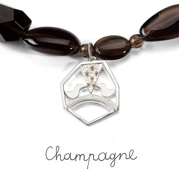 Vėrinys Champagne, sidabras ir dūminis kvarcas