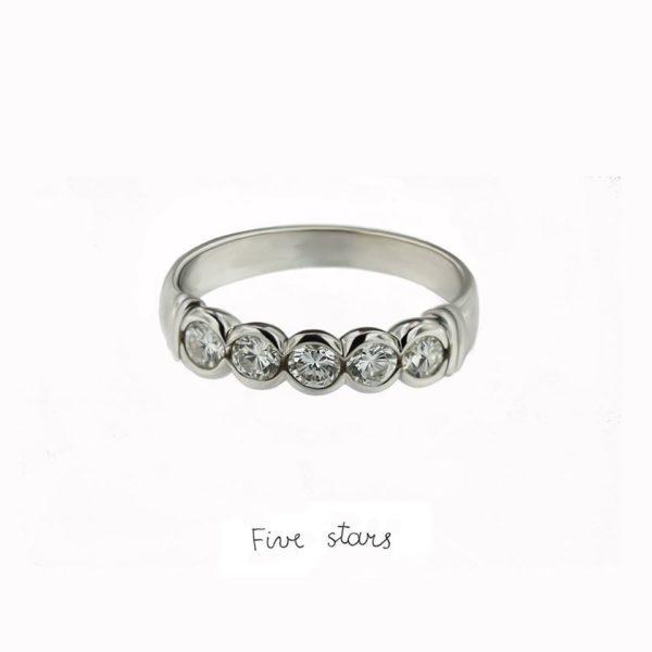 aukso žiedas su 5 briliantais, yurga sužadėtuvių žiedas