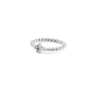 Stilizuotas kryželis balto aukso žiedas