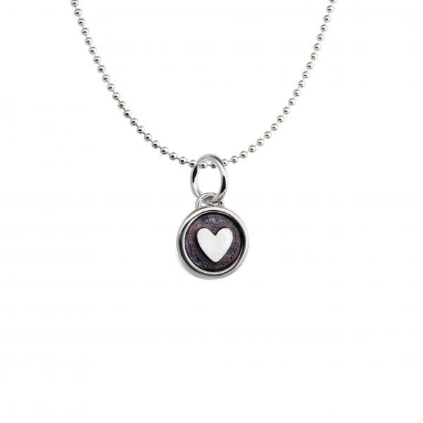 Vaikiškas Pakabukas Maža širdelė, sidabrinis, oksiduotas; YURGA