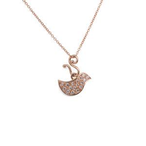 Brilliant Big Bird, rose gold and diamonds, YURGA