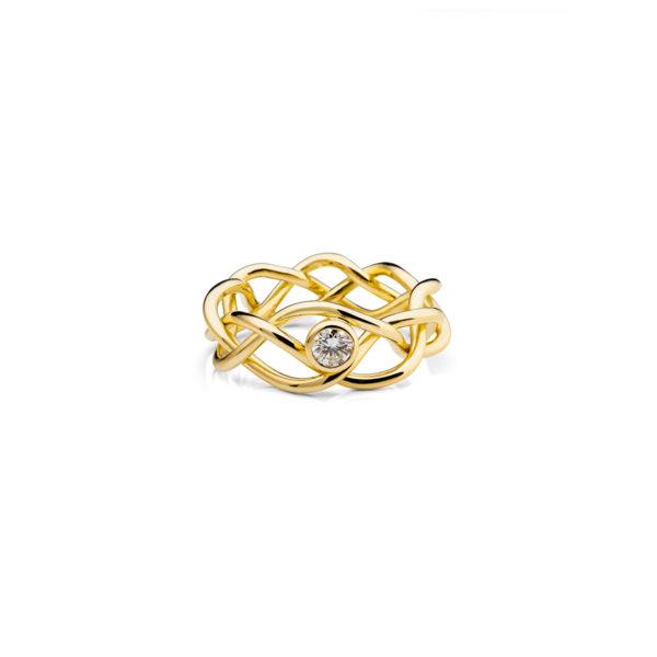 Aukso žiedas su briliantu Vijos, YURGA