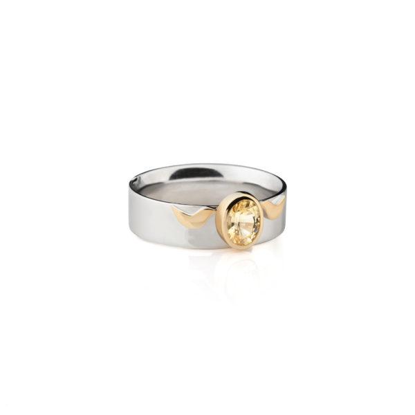 Aukso žiedas su geltonu safyru YURGA