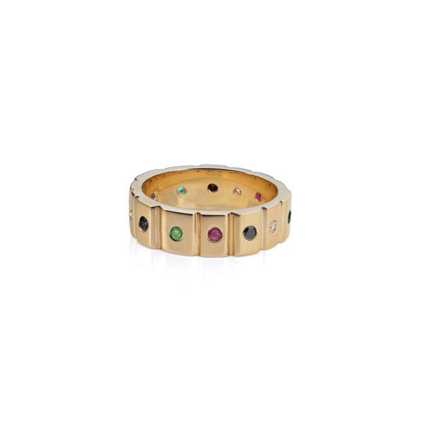 Aukso žiedas su brangakmeniais Runos YURGA