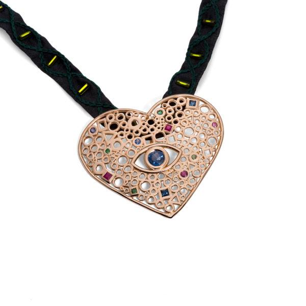 Ažūrinė Rankų Darbo Širdis, sukurta konkrečiai šeimai. Vienetinis, individualus rankų darbo kūrinys. Auksas ir brangakmeniai; YURGA