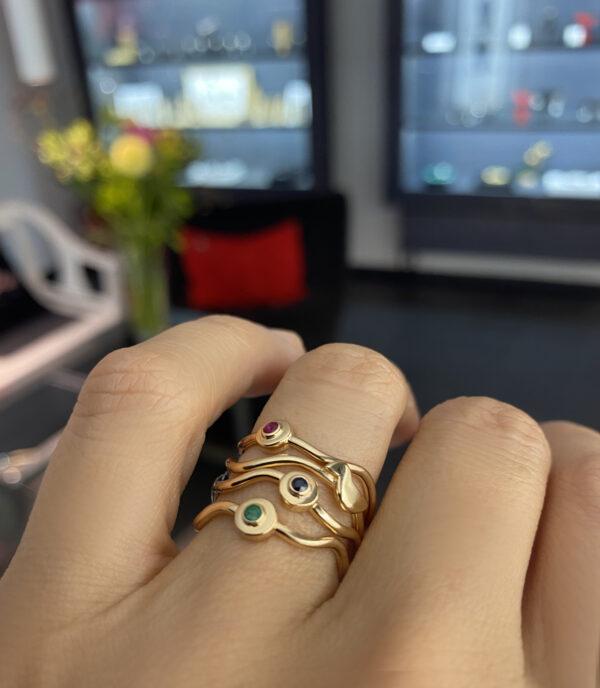 Aukso žiedas Lizdeliai su brangakmeniais